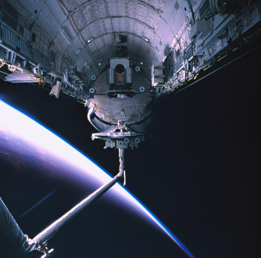 Square Photograph - The Space Shuttle With Its Cargo Bay Open by Stockbyte