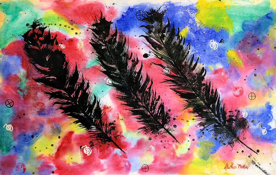 Spirit Painting - The Spirit Of Eagle Feathers by Alethea McKee
