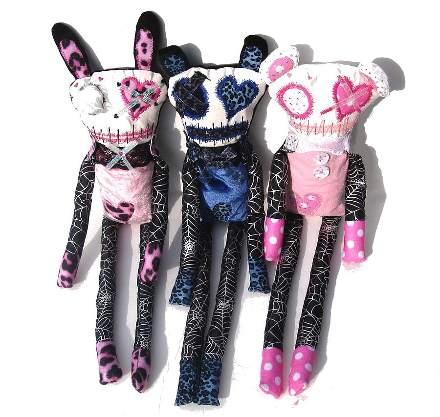 Doll Sculpture - The Spots And Dots Zombie Trio by Oddball Art Co by Lizzy Love