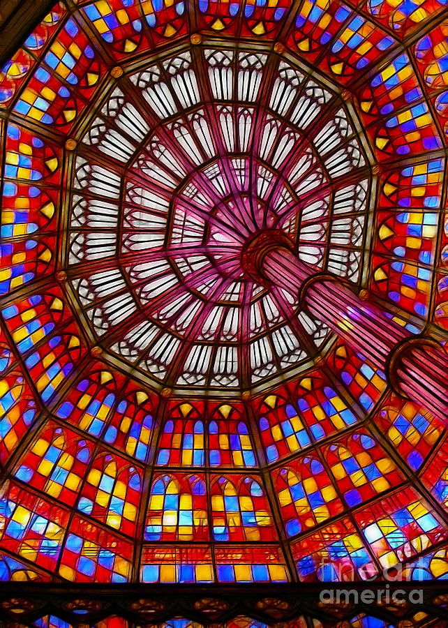Stained Photograph - The Stained Glass Ceiling by Judi Bagwell