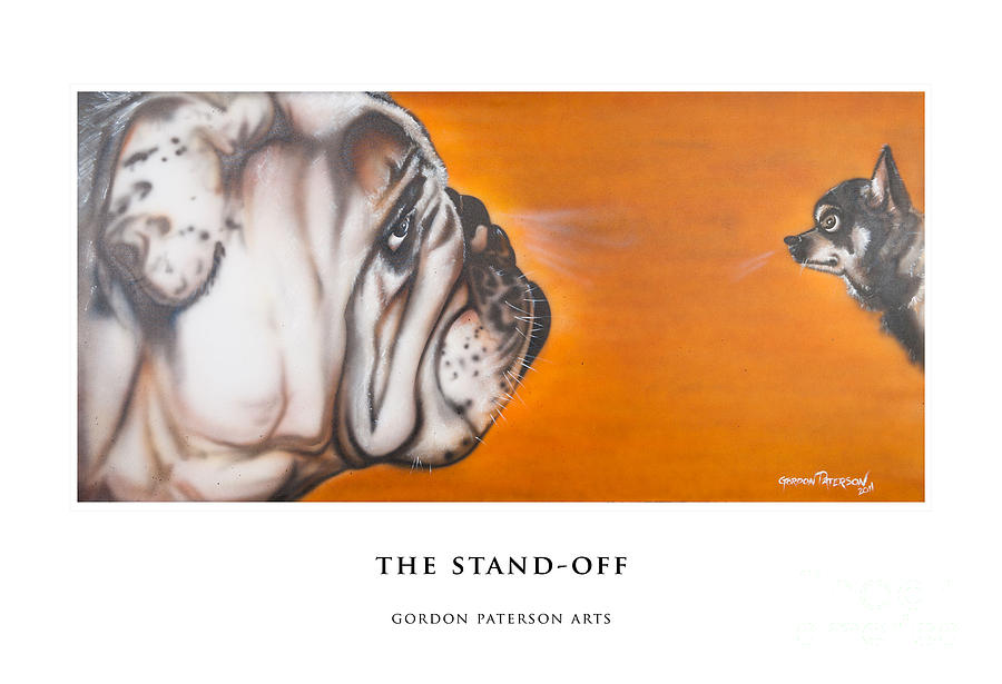 Bulldog Painting - The Stand Off by Gordon Paterson