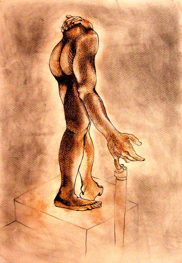 Drawing - The Statue by Nina Mirhabibi