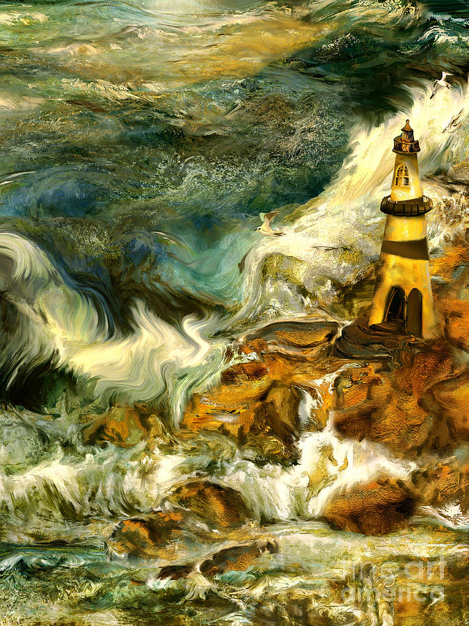 Lighthouse Painting - The Steadfast Lighthouse by Anne Weirich