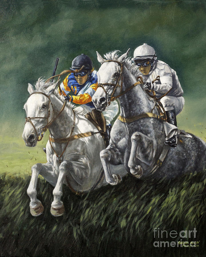 Derby Painting - The Steeplechase by Thomas Allen Pauly