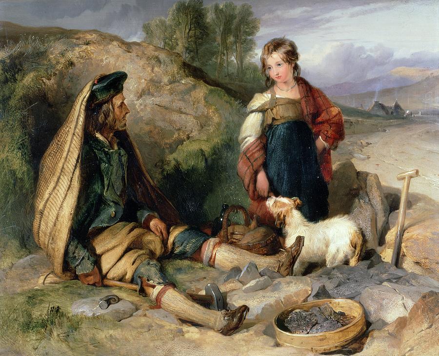 Sir Edwin Landseer Painting - The Stone Breaker And His Daughter by Sir Edwin Landseer