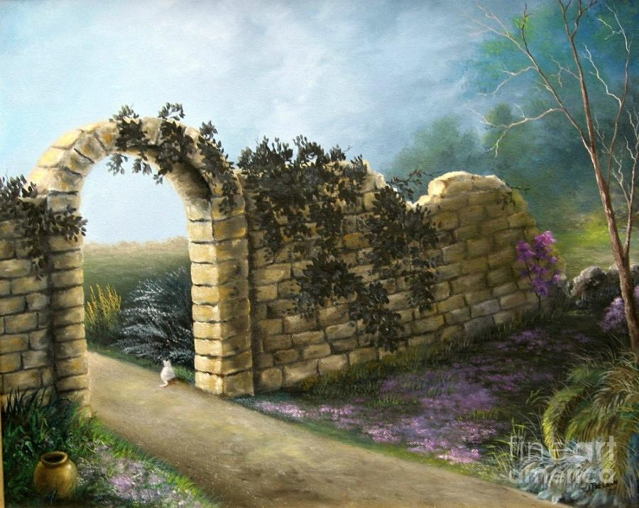 Landscape Painting - The Stone Wall by Patricia Lang