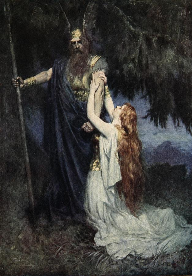 Brunhilde Knelt At His Feet Painting - The Stories Of Wagners Operas by  J Walker McSpadden