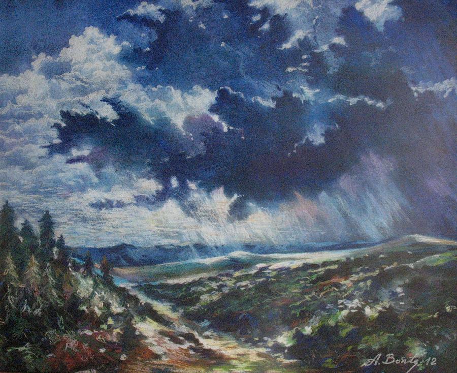 The Storm Drawing by Aurel Bonta