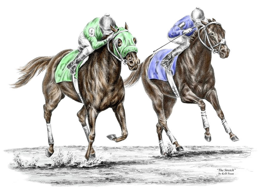 The Stretch - Tb Horse Racing Print Color Tinted Drawing by Kelli Swan