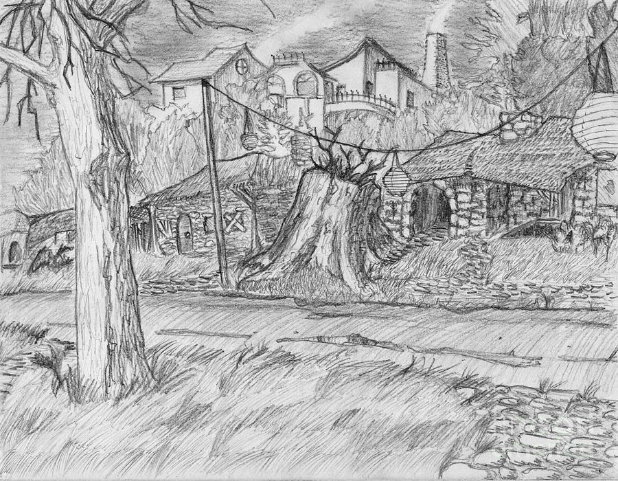 Landscape Drawing - The Stump by Jonathan Armes