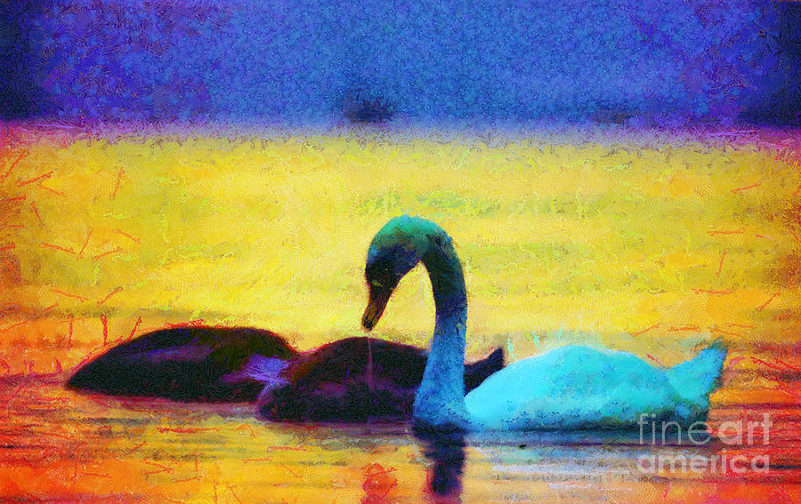 Odon Painting - The Swan Family by Odon Czintos