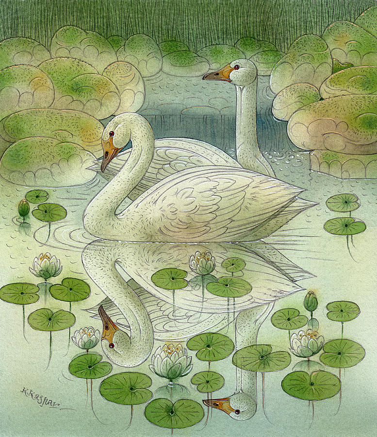 Swan Birds Lake Water Green White Water Lilies Painting - the Swans by Kestutis Kasparavicius
