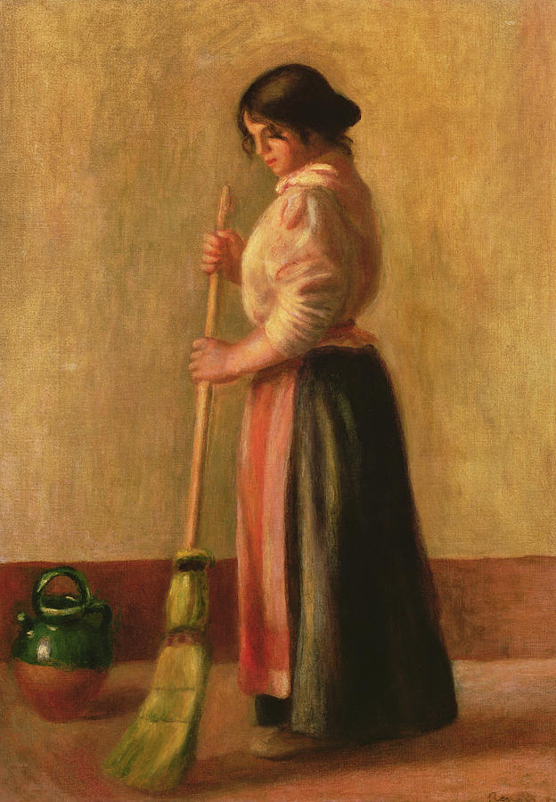 La Balayeuse; Domestic Chore; Female; Maid; Servant; Broom; Brush; Sweeping; Jug; Ewer; Impressionist; Cleaning; Floor; Balai; Balayeur Painting - The Sweeper by Pierre Auguste Renoir
