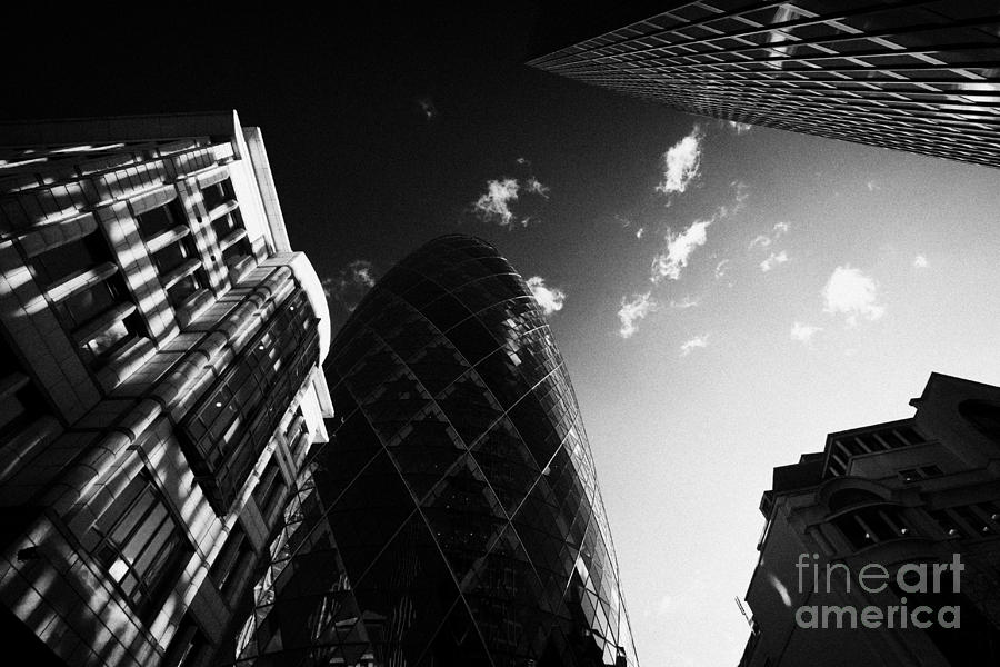 Swiss Re Photograph - The Swiss Re Gherkin Building At 30 St Mary Axe City Of London England Uk United Kingdom by Joe Fox