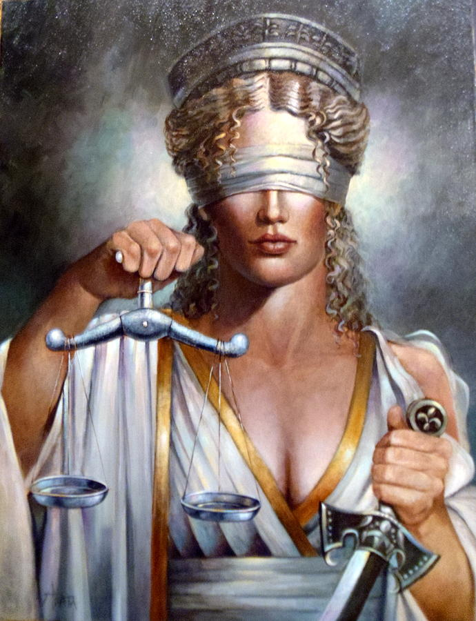 Lady Justice Painting - The Sword And Scales Of Justice by Geraldine Arata