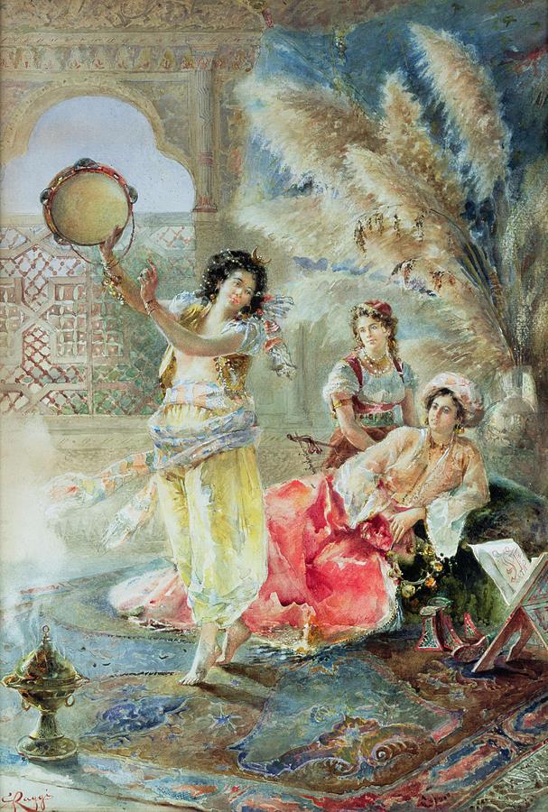 The Tambourine Painting - The Tambourine by E Raggi
