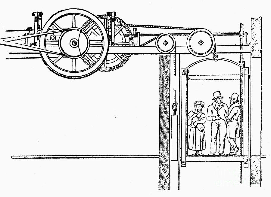 1835 Drawing - The Teagle Elevator 1835 by Granger