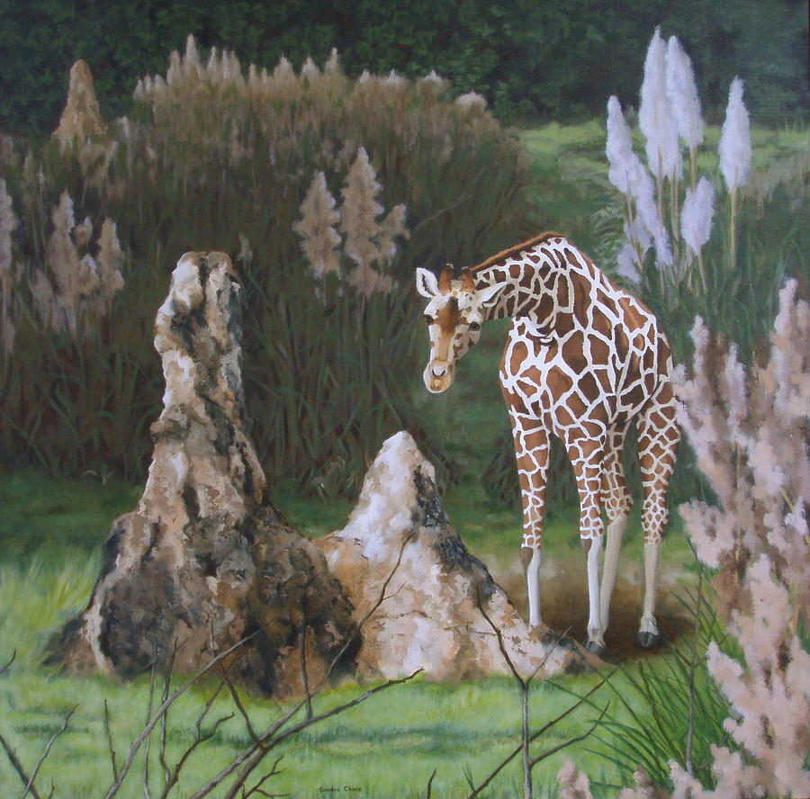 Giraffe Painting - The Termite Mounds by Sandra Chase