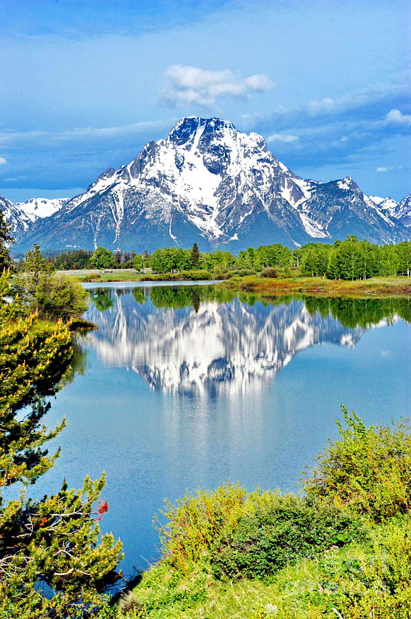 Tetons Photograph - The Tetons From Oxbow Point by Richard Brady