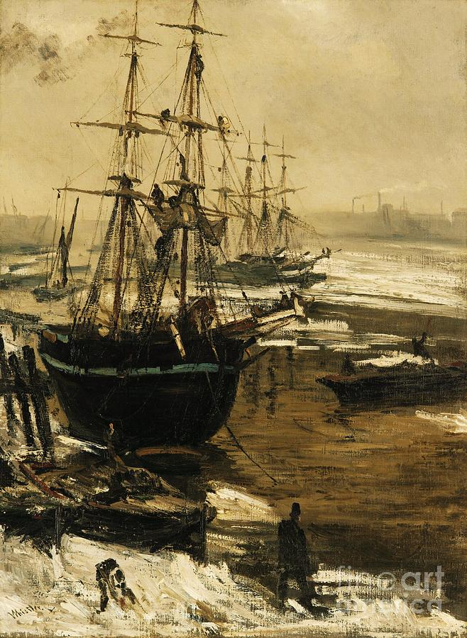 Pd Painting - The Thames In Ice by Pg Reproductions