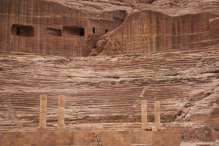 Petra Photograph - The Theater Carved Out Of A Rock Wall by Taylor S. Kennedy