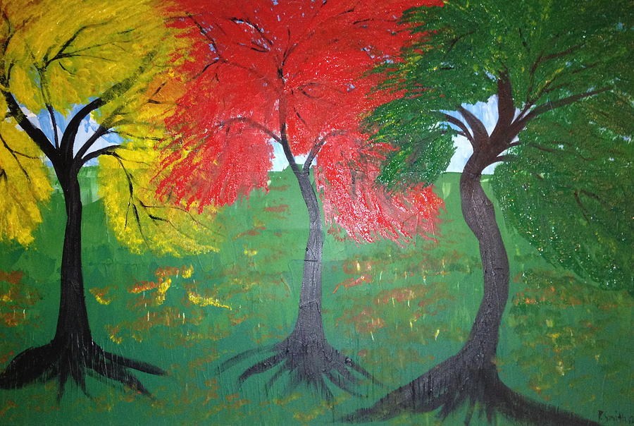Trees Painting - The Three Colours Of Maple Trees by Pretchill Smith