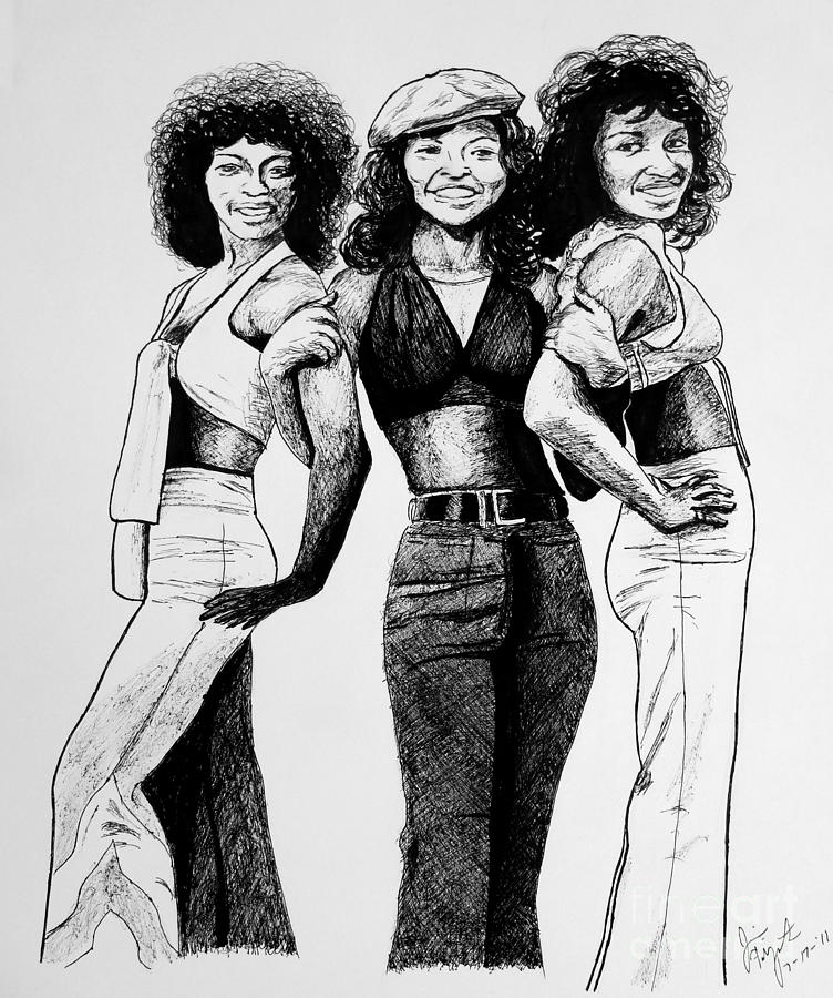 Helen Scott Drawing - The Three Degrees by Jim Fitzpatrick
