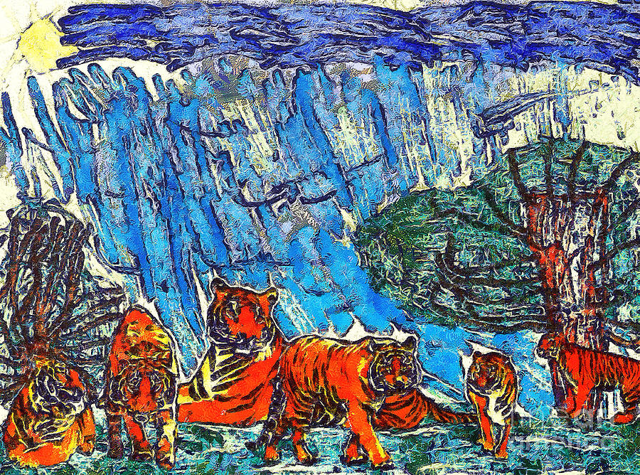 Odon Painting - The Tigers by Odon Czintos