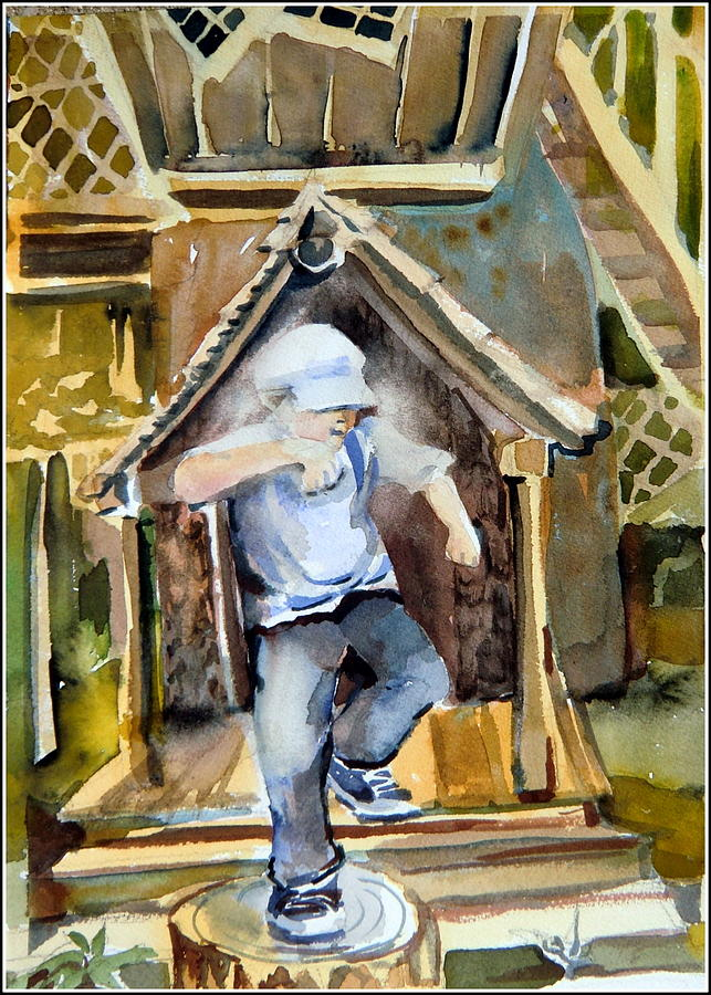 Boy Painting - The Tree House Kid by Mindy Newman