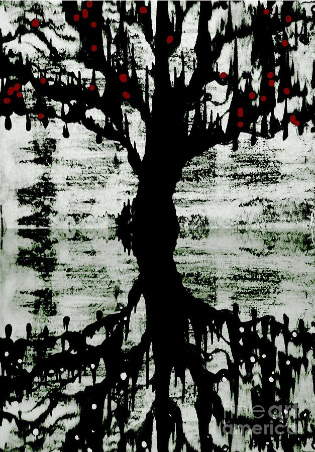 Black And White Tree Painting - The Tree The Root by Amy Sorrell