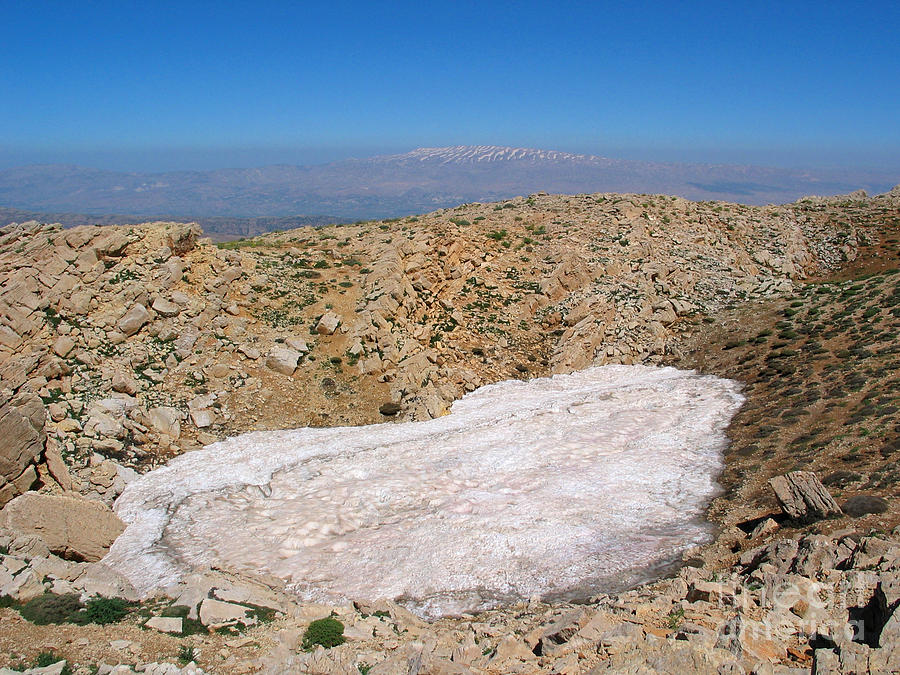 Snow Photograph - the un melted snow in Sannir mountains  by Issam Hajjar