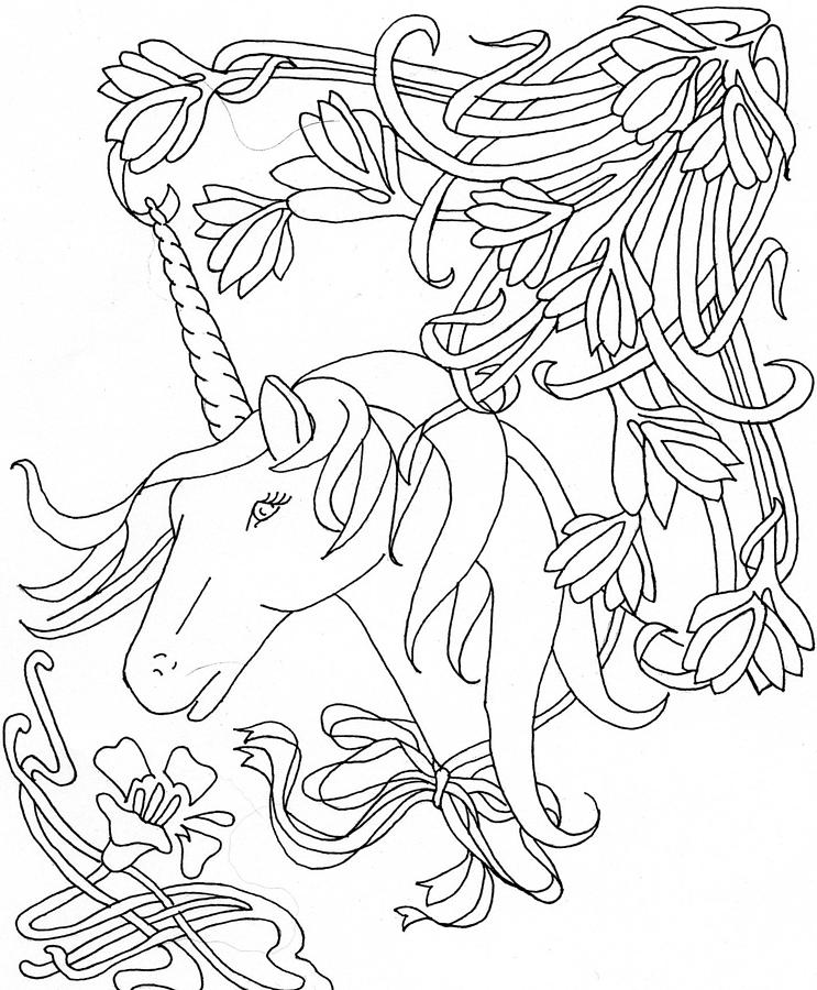 The Unicorn And Flowers Drawing by Yvette Pichette