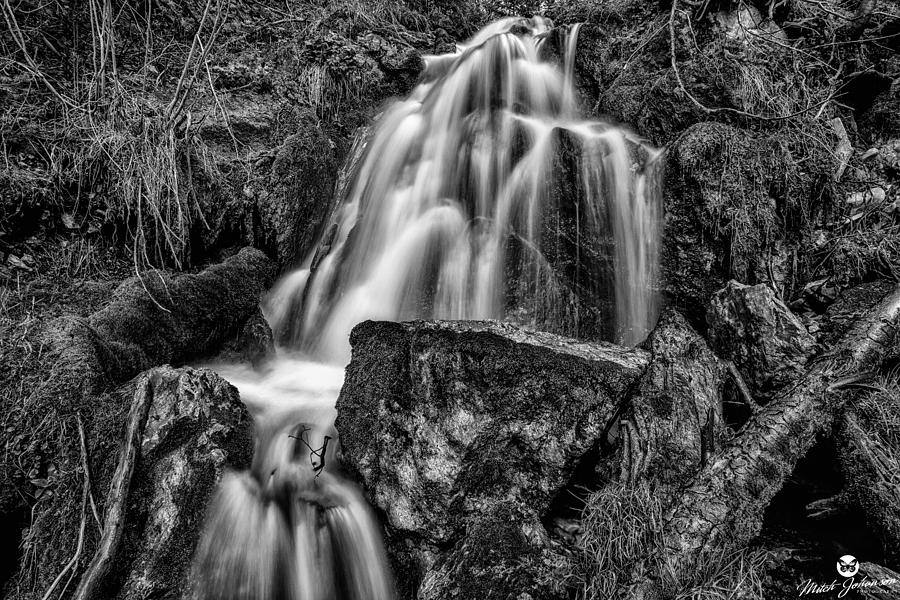 Black N White Photograph - The Upper Butler Fork Falls Bw by Mitch Johanson