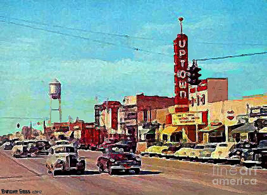 the uptown theatre in grand prairie tx in 1954 painting by dwight goss. Black Bedroom Furniture Sets. Home Design Ideas