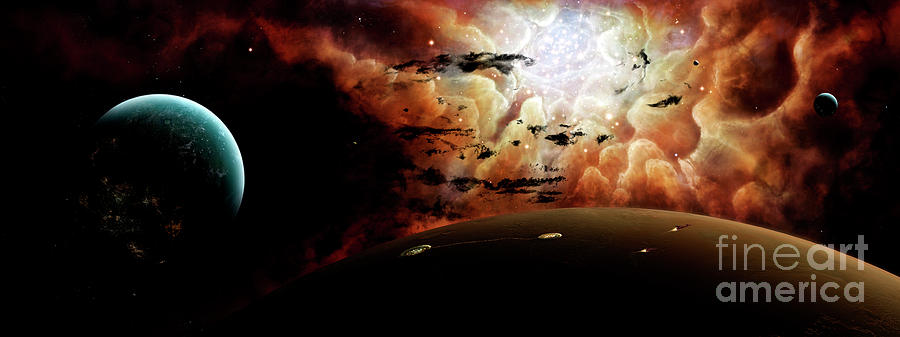 Artwork Digital Art - The View From A Busy Planetary System by Brian Christensen