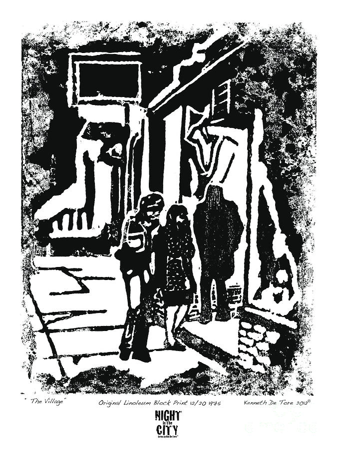 Greenwich Drawing - The Village by Kenneth De Tore
