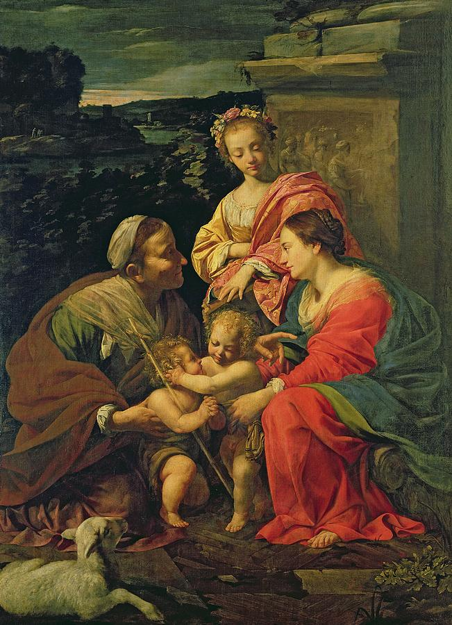 The Virgin And Child With St. Elizabeth Painting - The Virgin And Child With Saints by Simon Vouet