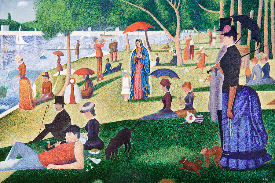 Guadalupe Painting - The Virgin of Guadalupe takes a Sunday Afternoon Walk Along Seurates La Grande Jetta  by James RODERICK