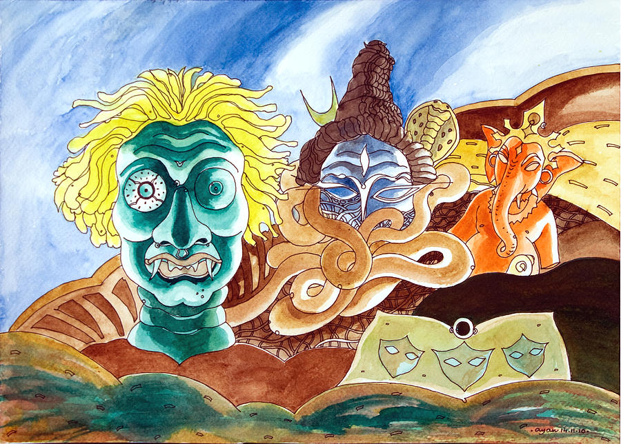 Spiritual Painting - The Visitors - The Demon Lord Shiva  Lord Ganesha by Ayan  Ghoshal