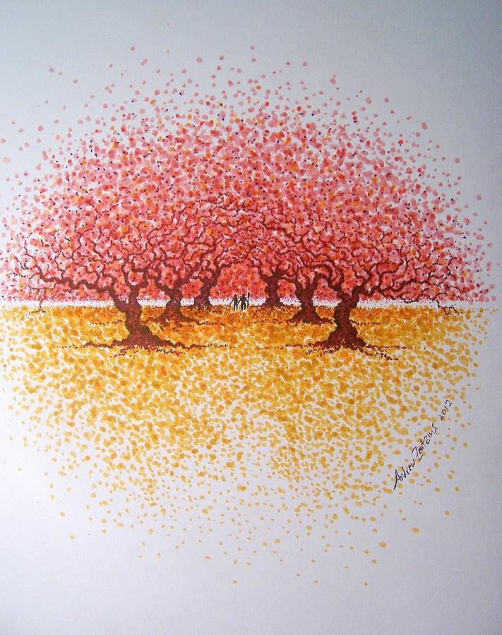 Trees Drawing - The Walk  by Andrew Zeutzius