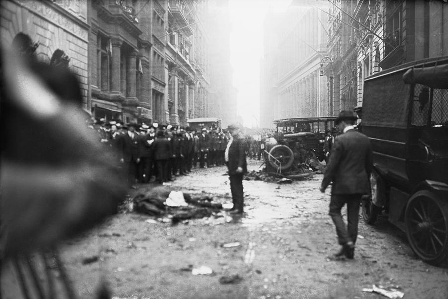 History Photograph - The Wall Street Bombing. A Man Stands by Everett