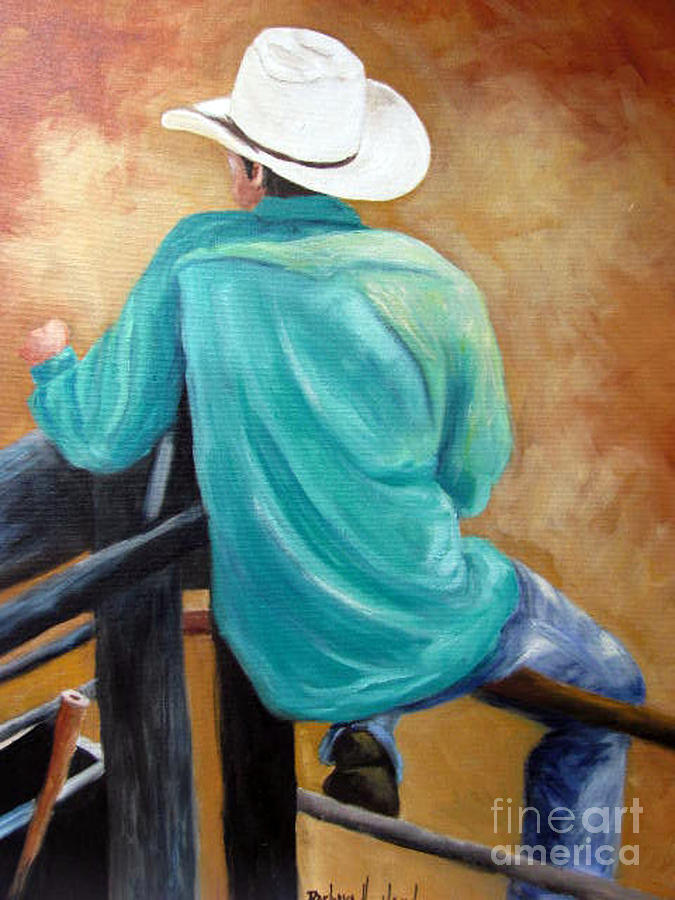 Cowboy Painting - The Watcher by Barbara Haviland
