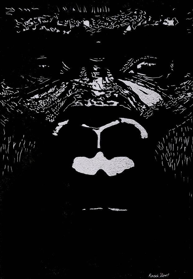 Ape Glass Art - The Watcher by Jim Ross