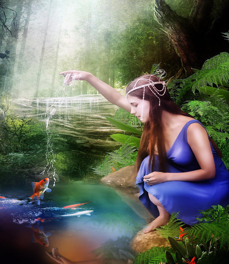 Woman Digital Art - The Water Hole by Mary Hood