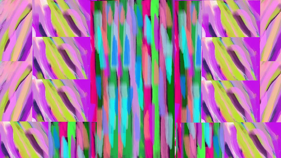 Waves Digital Art - The Waves Violet Turquoise Pink Green by Rosana Ortiz