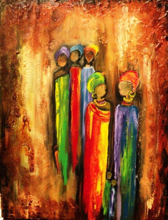 Woman Painting - The Way Of A Woman Series-courage by Marietjie Henning