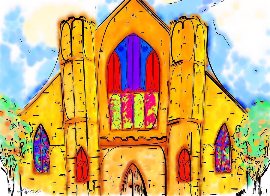 Wedding Drawing - The Wedding Chapel by Alec Drake