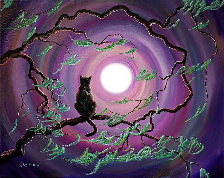 Black Painting - The Wind In My Fur by Laura Iverson
