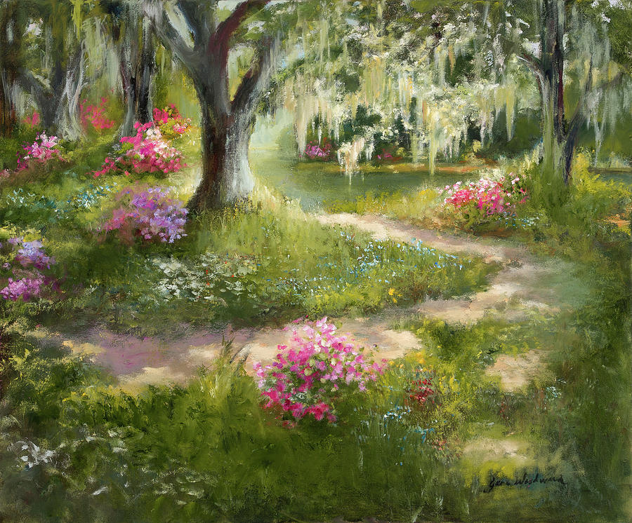 Garden Path Painting - The Winding Path in Spring by Jane Woodward