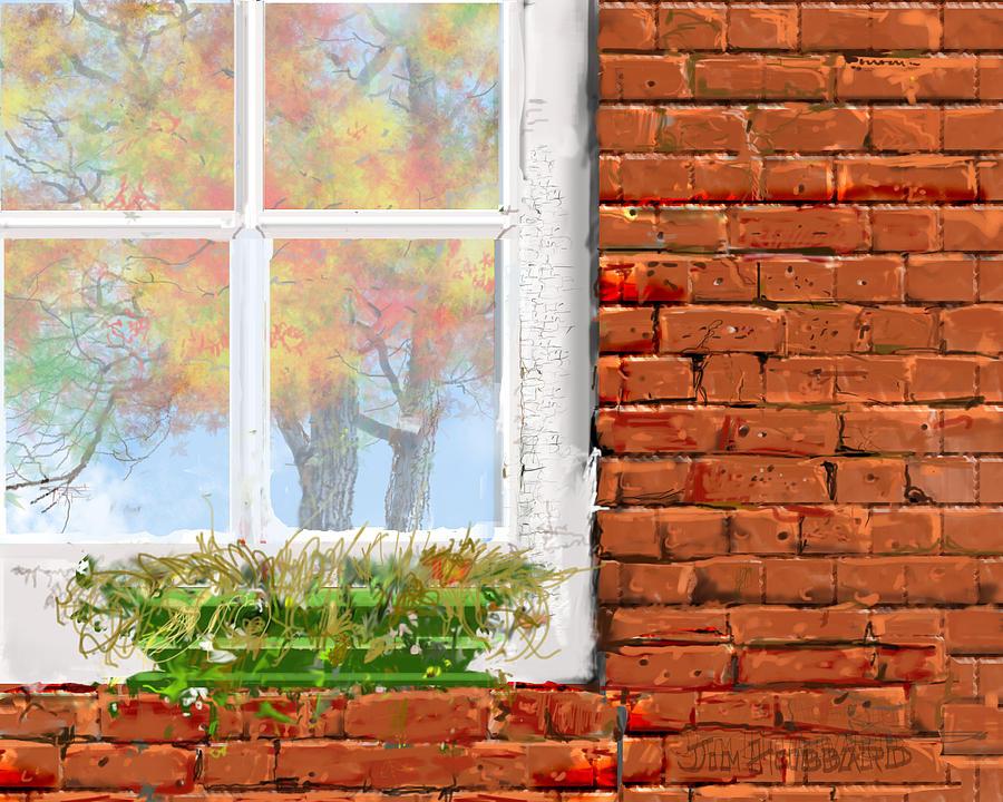 Fall Drawing - The Window Triptych Fall by Jim Hubbard